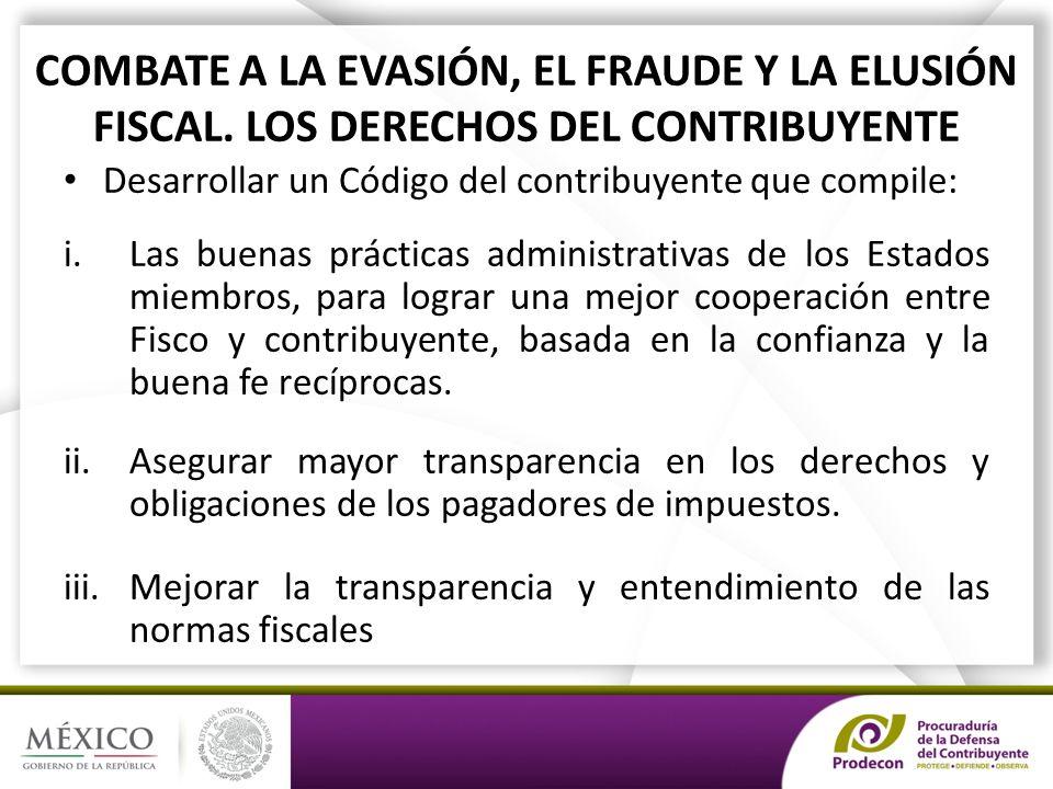 COMBATE A LA EVASIÓN, EL FRAUDE Y LA ELUSIÓN FISCAL.