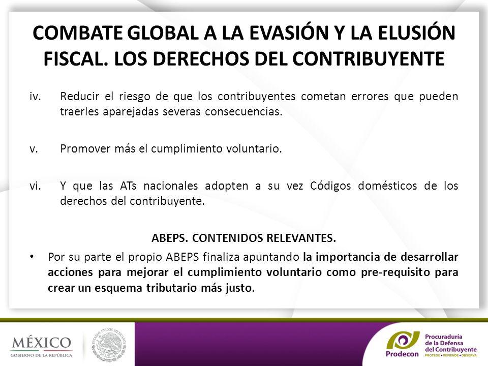 COMBATE GLOBAL A LA EVASIÓN Y LA ELUSIÓN FISCAL.