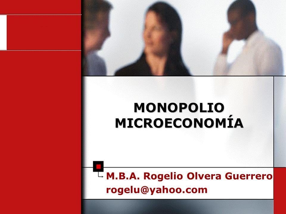 M.B.A. Rogelio Olvera Guerrero rogelu@yahoo.com MONOPOLIO MICROECONOMÍA