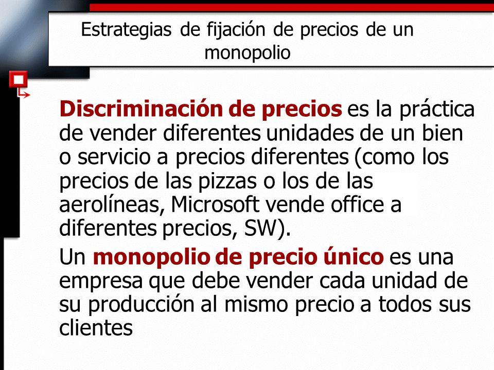 Estrategias de fijación de precios de un monopolio Discriminación de precios es la práctica de vender diferentes unidades de un bien o servicio a prec