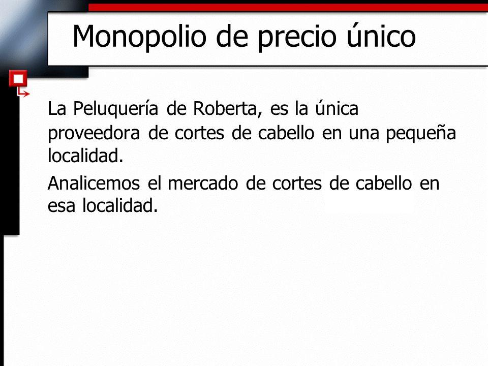 Monopolio de precio único La Peluquería de Roberta, es la única proveedora de cortes de cabello en una pequeña localidad. Analicemos el mercado de cor