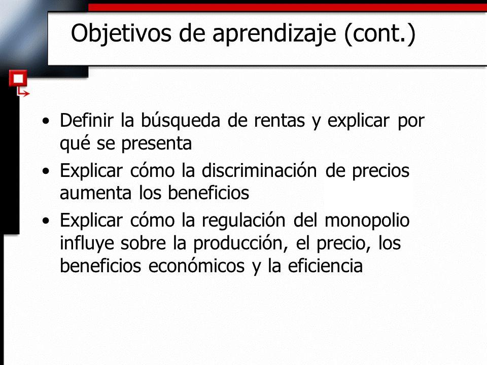 Objetivos de aprendizaje (cont.) Definir la búsqueda de rentas y explicar por qué se presenta Explicar cómo la discriminación de precios aumenta los b