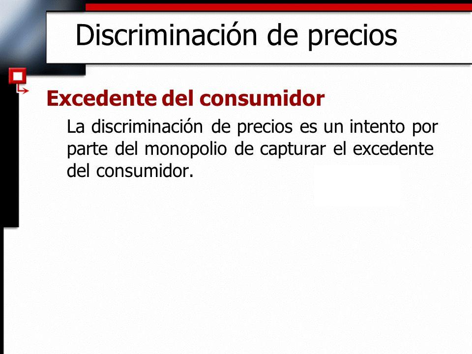 Discriminación de precios Excedente del consumidor La discriminación de precios es un intento por parte del monopolio de capturar el excedente del con