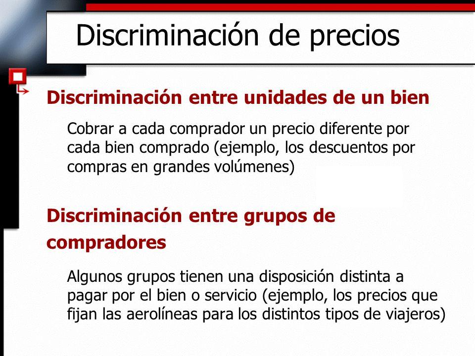 Discriminación de precios Discriminación entre unidades de un bien Cobrar a cada comprador un precio diferente por cada bien comprado (ejemplo, los de