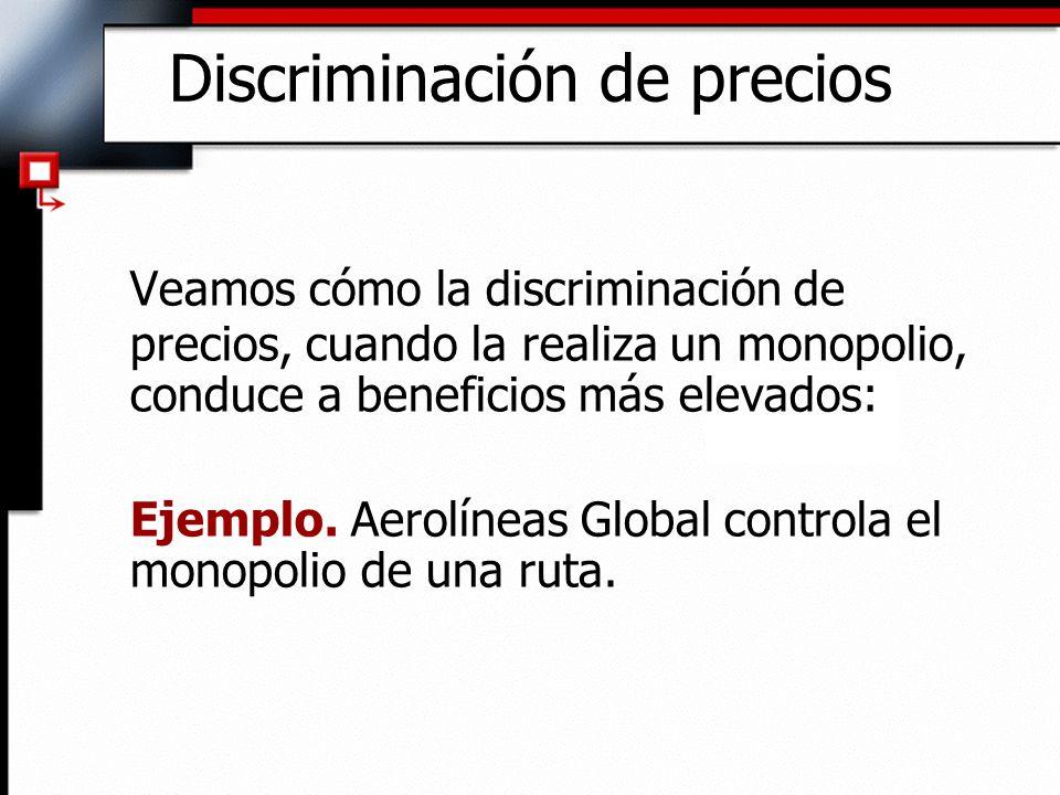 Discriminación de precios Veamos cómo la discriminación de precios, cuando la realiza un monopolio, conduce a beneficios más elevados: Ejemplo. Aerolí