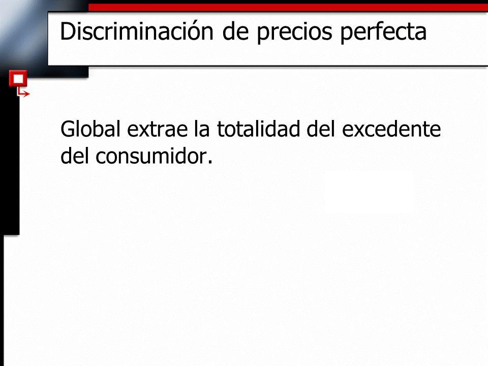 Discriminación de precios perfecta Global extrae la totalidad del excedente del consumidor.