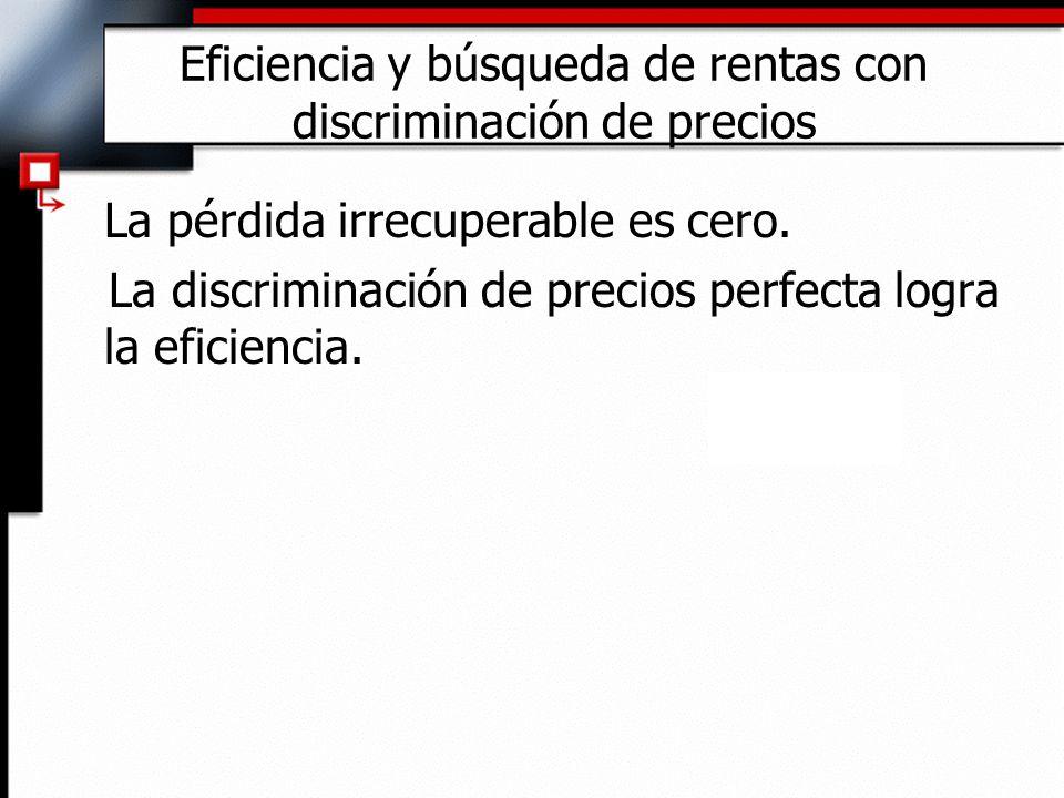 Eficiencia y búsqueda de rentas con discriminación de precios La pérdida irrecuperable es cero. La discriminación de precios perfecta logra la eficien