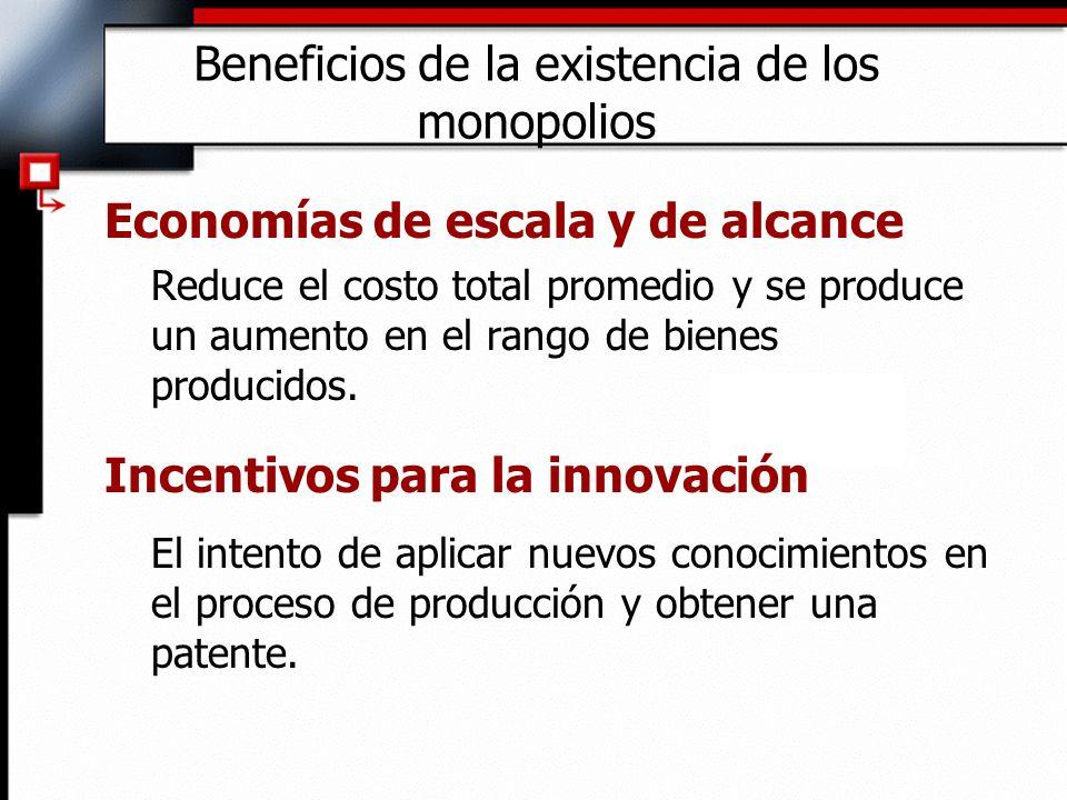 Beneficios de la existencia de los monopolios Economías de escala y de alcance Reduce el costo total promedio y se produce un aumento en el rango de b