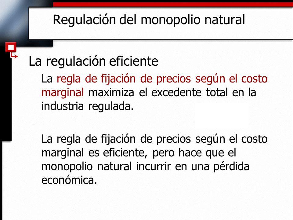Regulación del monopolio natural La regulación eficiente La regla de fijación de precios según el costo marginal maximiza el excedente total en la ind