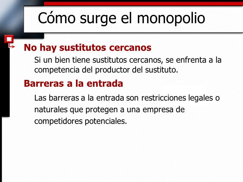 Cómo surge el monopolio No hay sustitutos cercanos Si un bien tiene sustitutos cercanos, se enfrenta a la competencia del productor del sustituto. Bar