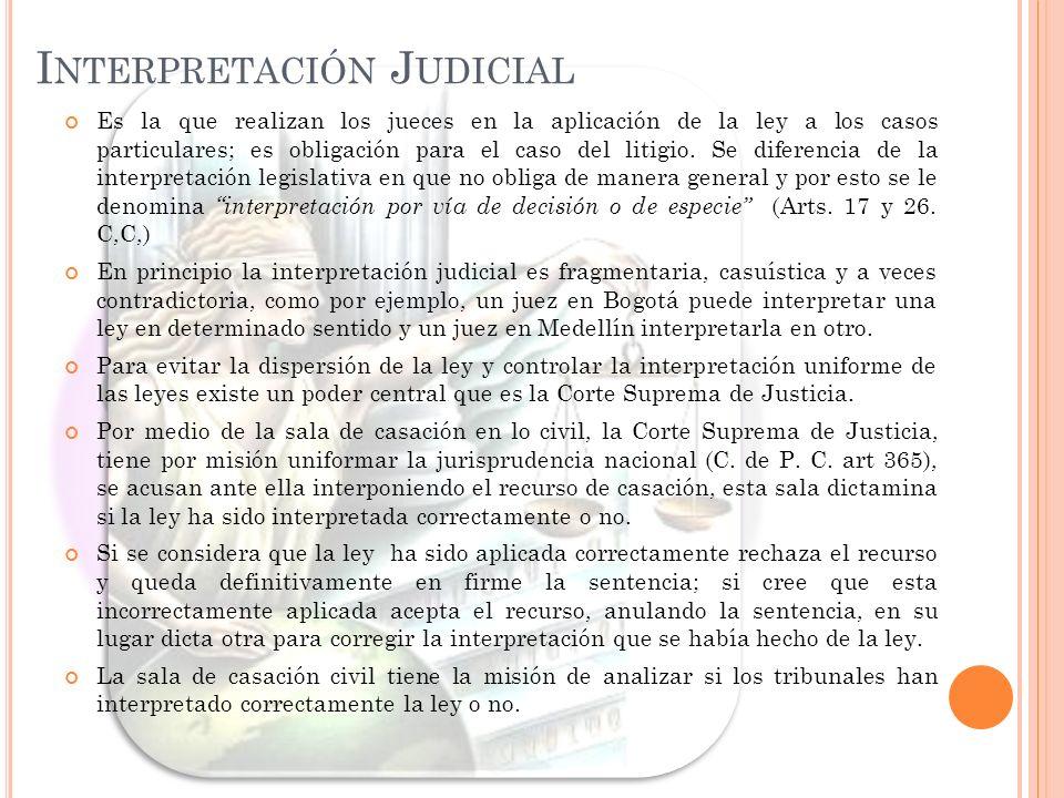 I NTERPRETACIÓN J UDICIAL Es la que realizan los jueces en la aplicación de la ley a los casos particulares; es obligación para el caso del litigio. S