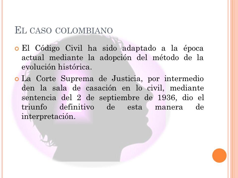 E L CASO COLOMBIANO El Código Civil ha sido adaptado a la época actual mediante la adopción del método de la evolución histórica. La Corte Suprema de