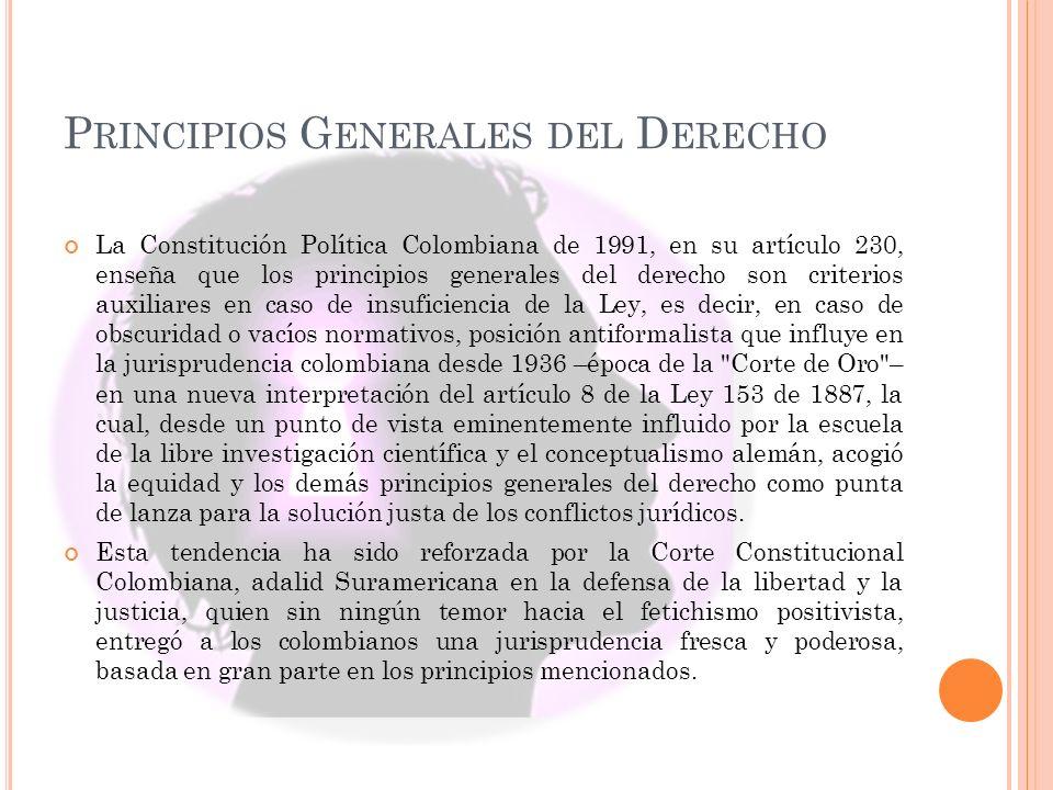 P RINCIPIOS G ENERALES DEL D ERECHO La Constitución Política Colombiana de 1991, en su artículo 230, enseña que los principios generales del derecho s