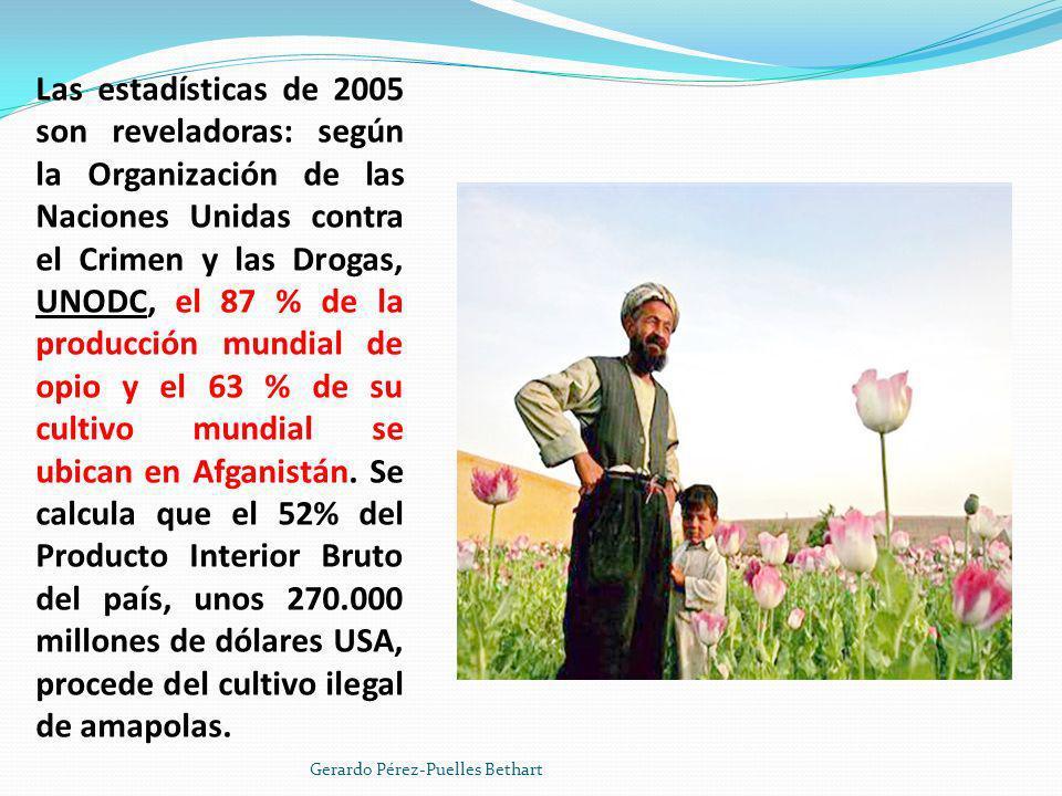 La producción de opio se ha disparado desde la expulsión de los talibanes del poder en 2001: en 2004 se incrementó un 64%, alrededor de unas 4.200 ton., frente a las 185 de 2001 a partir de la prohibición del cultivo impuesta por el régimen talibán.