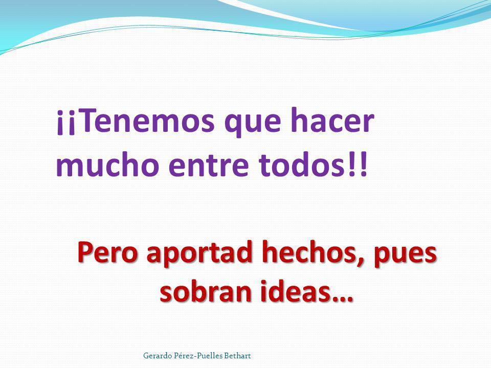 ¡¡Tenemos que hacer mucho entre todos!! Pero aportad hechos, pues sobran ideas… Gerardo Pérez-Puelles Bethart
