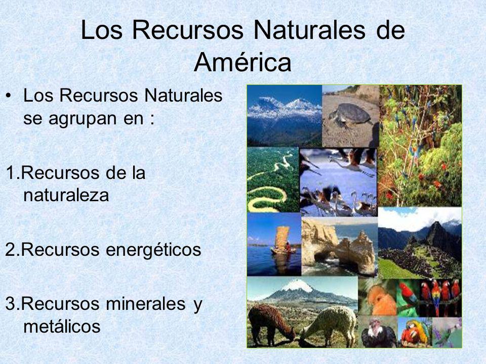 Los Recursos Naturales de América Los Recursos Naturales se agrupan en : 1.Recursos de la naturaleza 2.Recursos energéticos 3.Recursos minerales y met