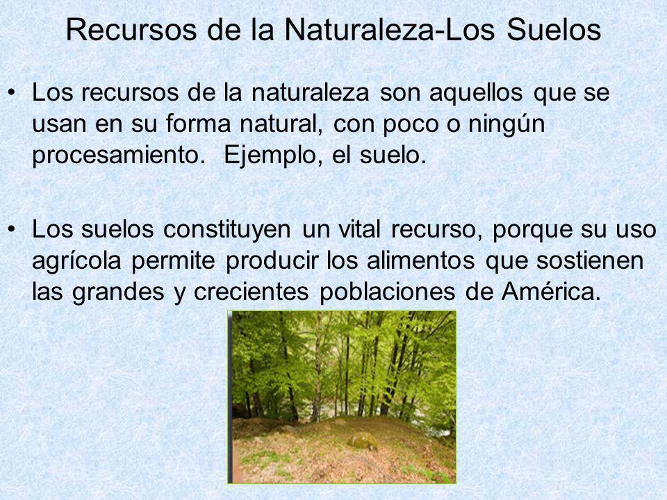 Los recursos de la naturaleza son aquellos que se usan en su forma natural, con poco o ningún procesamiento. Ejemplo, el suelo. Los suelos constituyen