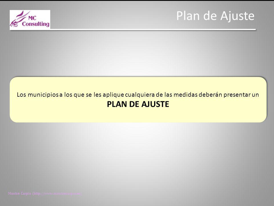 Montse Carpio (http://www.montsecarpio.es) Condiciones del Plan de Ajuste Reducción gastos de funcionamiento en el primer año, congelación en los dos siguientes y limitación en los años sucesivos.