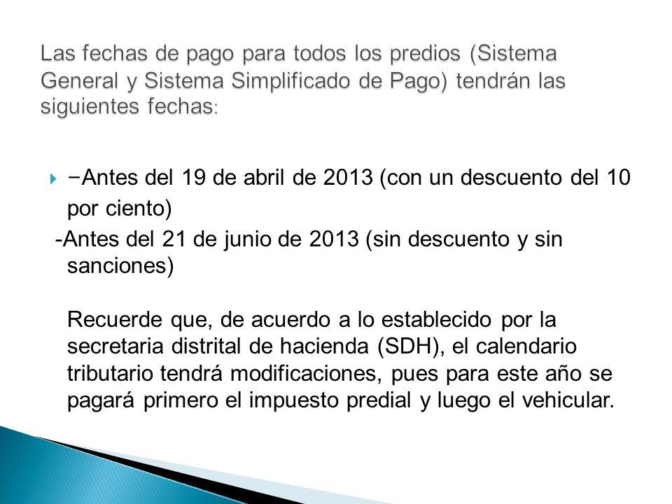 - Antes del 19 de abril de 2013 (con un descuento del 10 por ciento) -Antes del 21 de junio de 2013 (sin descuento y sin sanciones) Recuerde que, de a