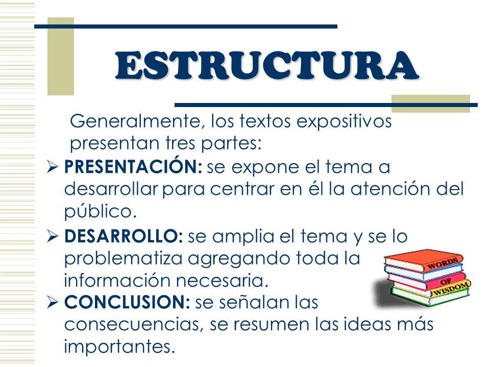 Generalmente, los textos expositivos presentan tres partes: ESTRUCTURA DESARROLLO: se amplia el tema y se lo problematiza agregando toda la información necesaria.