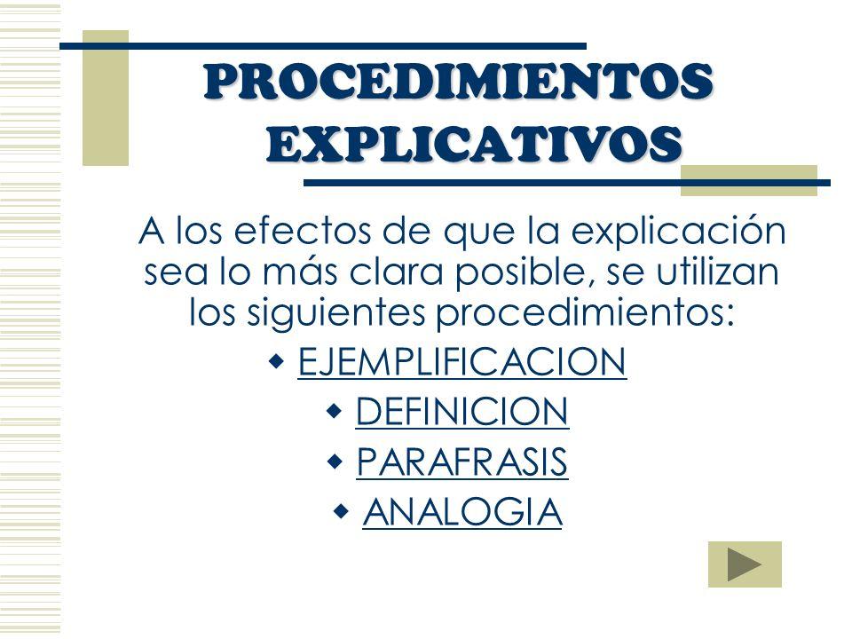 A los efectos de que la explicación sea lo más clara posible, se utilizan los siguientes procedimientos: EJEMPLIFICACION DEFINICION PARAFRASIS ANALOGIA PROCEDIMIENTOS EXPLICATIVOS