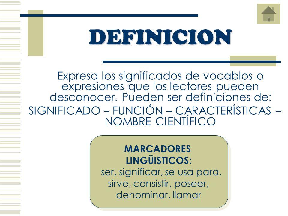 Expresa los significados de vocablos o expresiones que los lectores pueden desconocer.