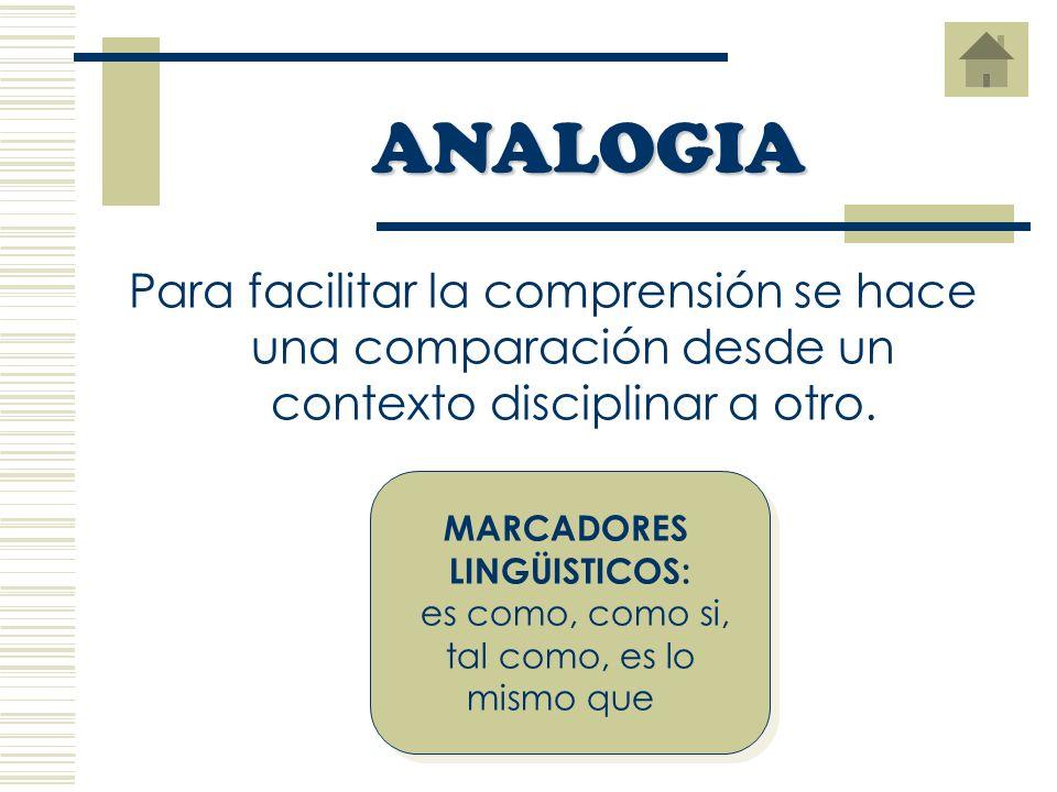 Para facilitar la comprensión se hace una comparación desde un contexto disciplinar a otro.