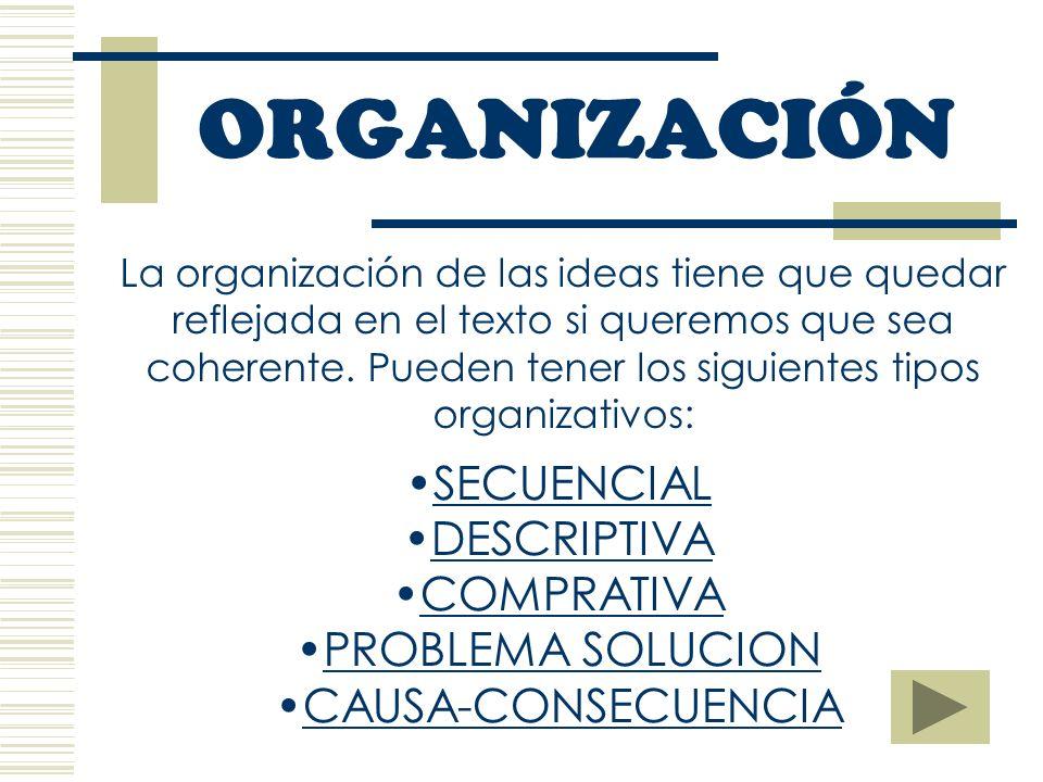 ORGANIZACIÓN La organización de las ideas tiene que quedar reflejada en el texto si queremos que sea coherente.