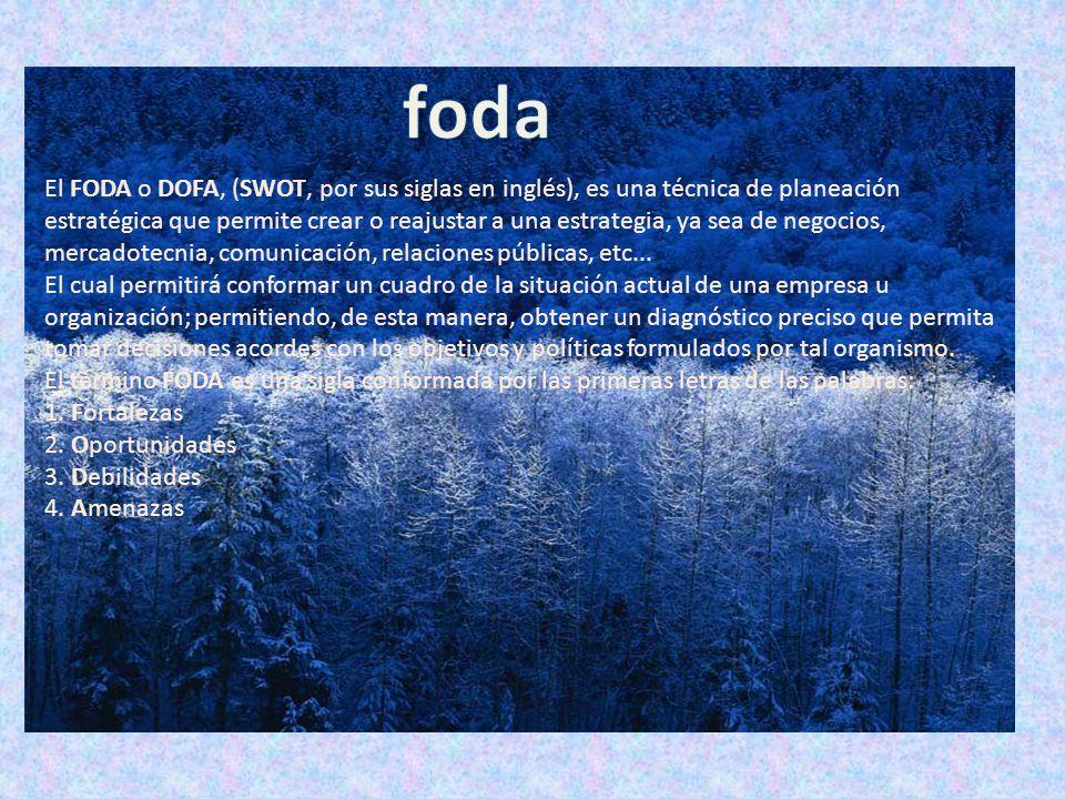 El FODA o DOFA, (SWOT, por sus siglas en inglés), es una técnica de planeación estratégica que permite crear o reajustar a una estrategia, ya sea de n