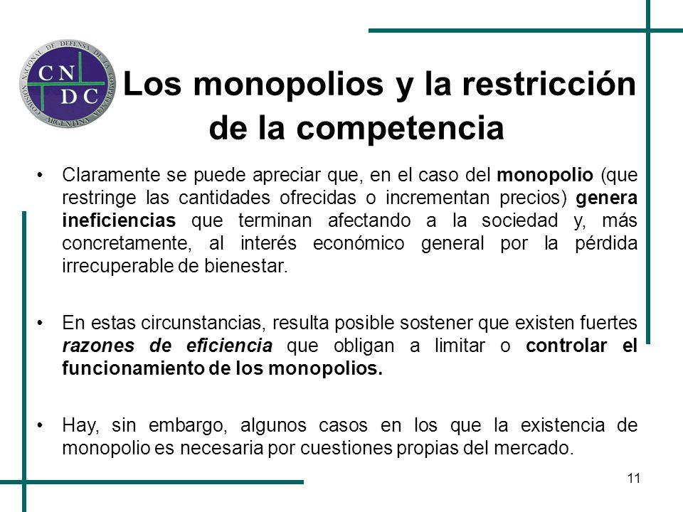 11 Los monopolios y la restricción de la competencia Claramente se puede apreciar que, en el caso del monopolio (que restringe las cantidades ofrecida