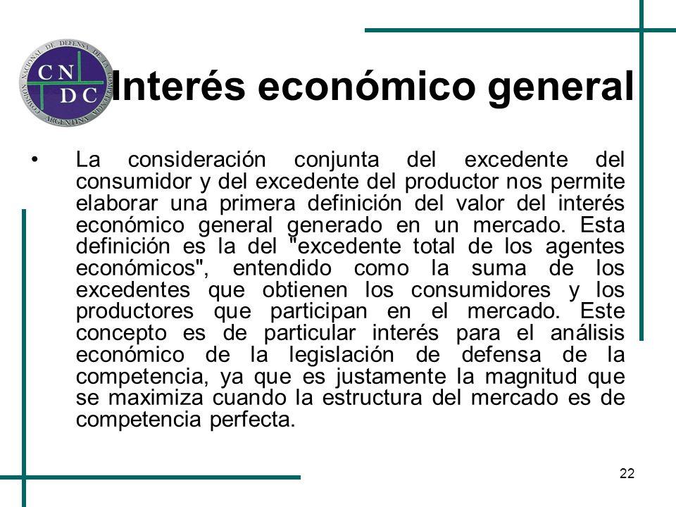 22 Interés económico general La consideración conjunta del excedente del consumidor y del excedente del productor nos permite elaborar una primera def