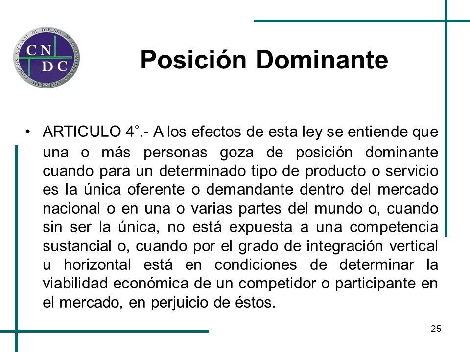 25 Posición Dominante ARTICULO 4°.- A los efectos de esta ley se entiende que una o más personas goza de posición dominante cuando para un determinado