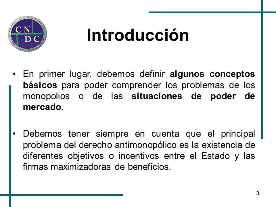 3 Introducción En primer lugar, debemos definir algunos conceptos básicos para poder comprender los problemas de los monopolios o de las situaciones d