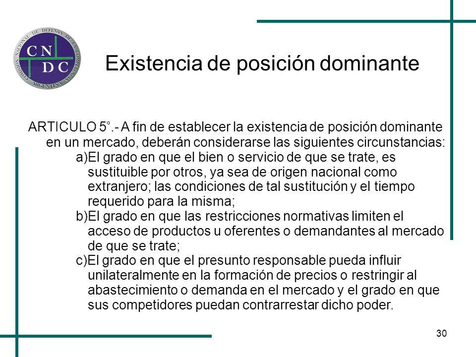 30 Existencia de posición dominante ARTICULO 5°.- A fin de establecer la existencia de posición dominante en un mercado, deberán considerarse las sigu