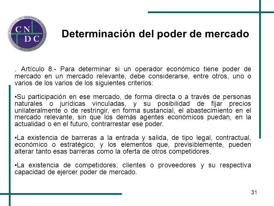 31 Determinación del poder de mercado. Artículo 8.- Para determinar si un operador económico tiene poder de mercado en un mercado relevante, debe cons
