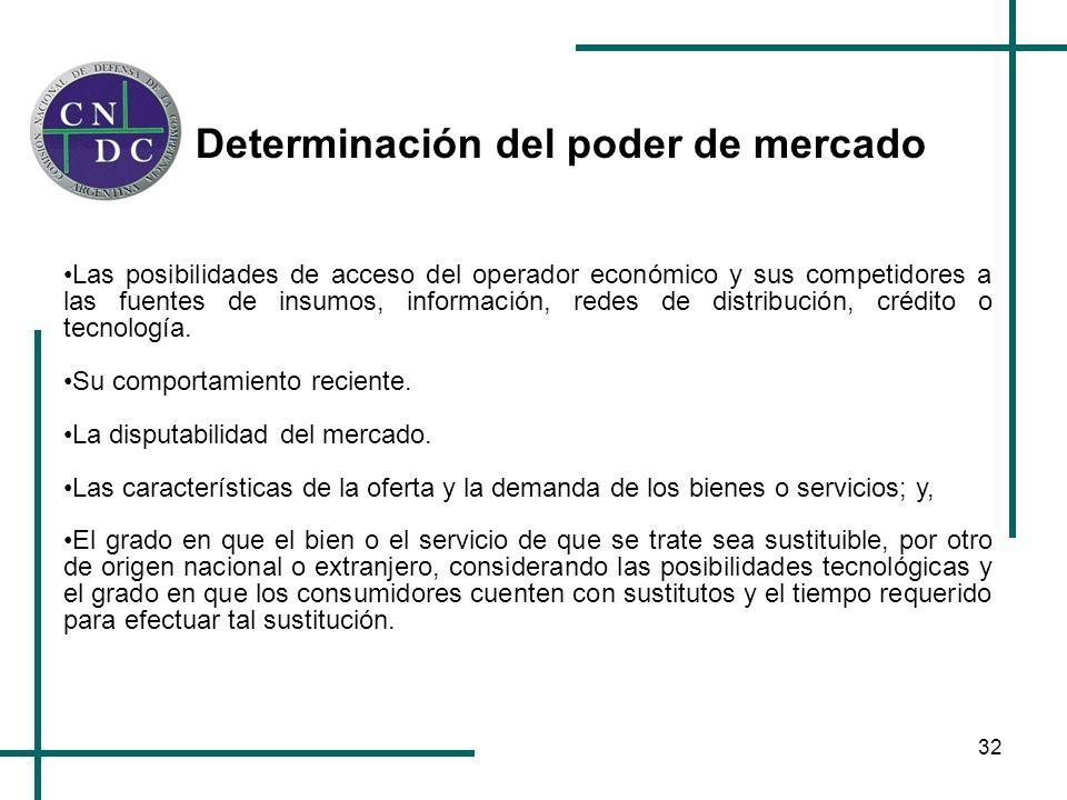 32 Determinación del poder de mercado Las posibilidades de acceso del operador económico y sus competidores a las fuentes de insumos, información, red