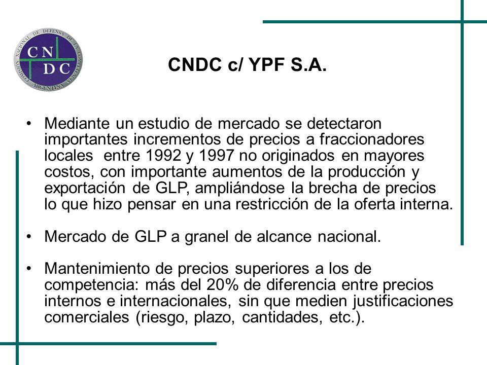 CNDC c/ YPF S.A. Mediante un estudio de mercado se detectaron importantes incrementos de precios a fraccionadores locales entre 1992 y 1997 no origina