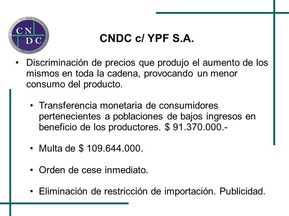 CNDC c/ YPF S.A. Discriminación de precios que produjo el aumento de los mismos en toda la cadena, provocando un menor consumo del producto. Transfere