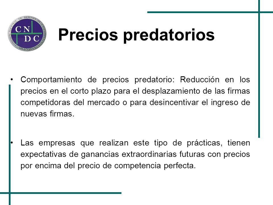 Precios predatorios Comportamiento de precios predatorio: Reducción en los precios en el corto plazo para el desplazamiento de las firmas competidoras