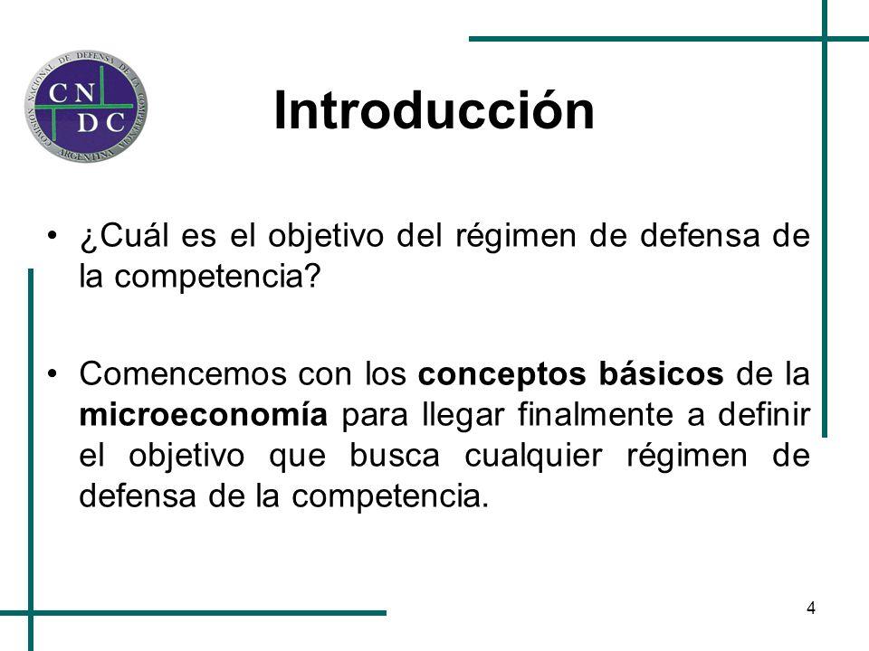 4 Introducción ¿Cuál es el objetivo del régimen de defensa de la competencia? Comencemos con los conceptos básicos de la microeconomía para llegar fin