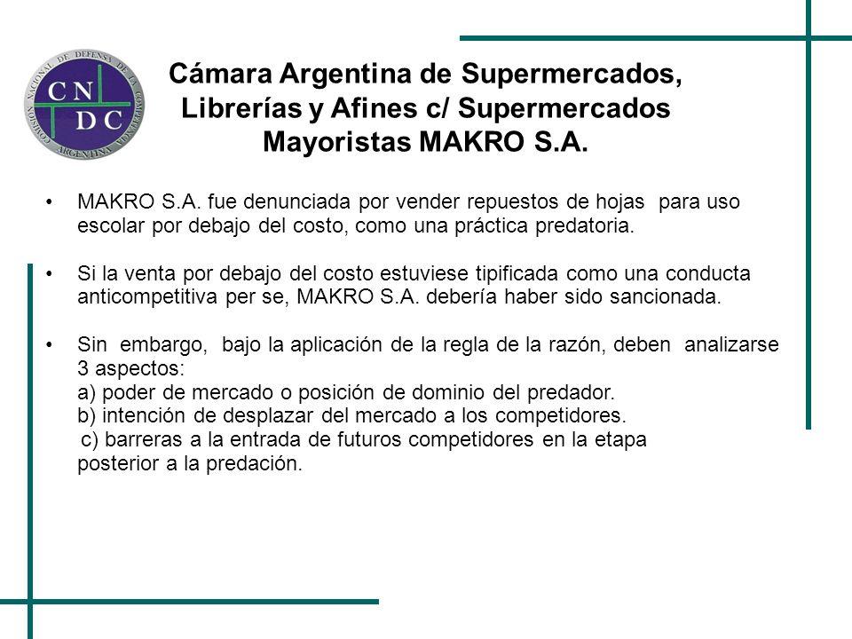 Cámara Argentina de Supermercados, Librerías y Afines c/ Supermercados Mayoristas MAKRO S.A. MAKRO S.A. fue denunciada por vender repuestos de hojas p