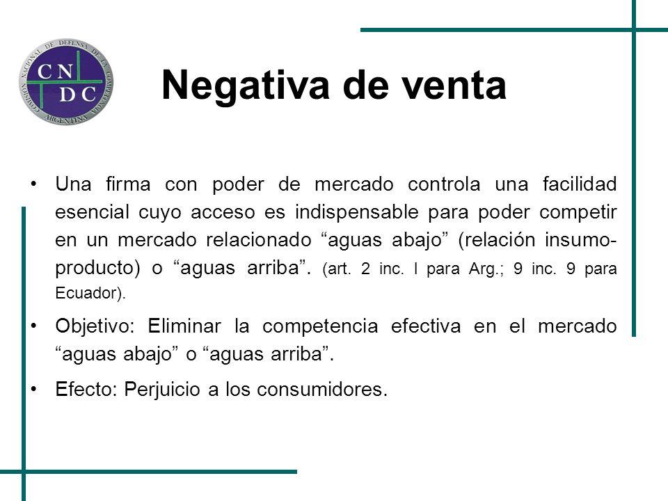 Negativa de venta Una firma con poder de mercado controla una facilidad esencial cuyo acceso es indispensable para poder competir en un mercado relaci
