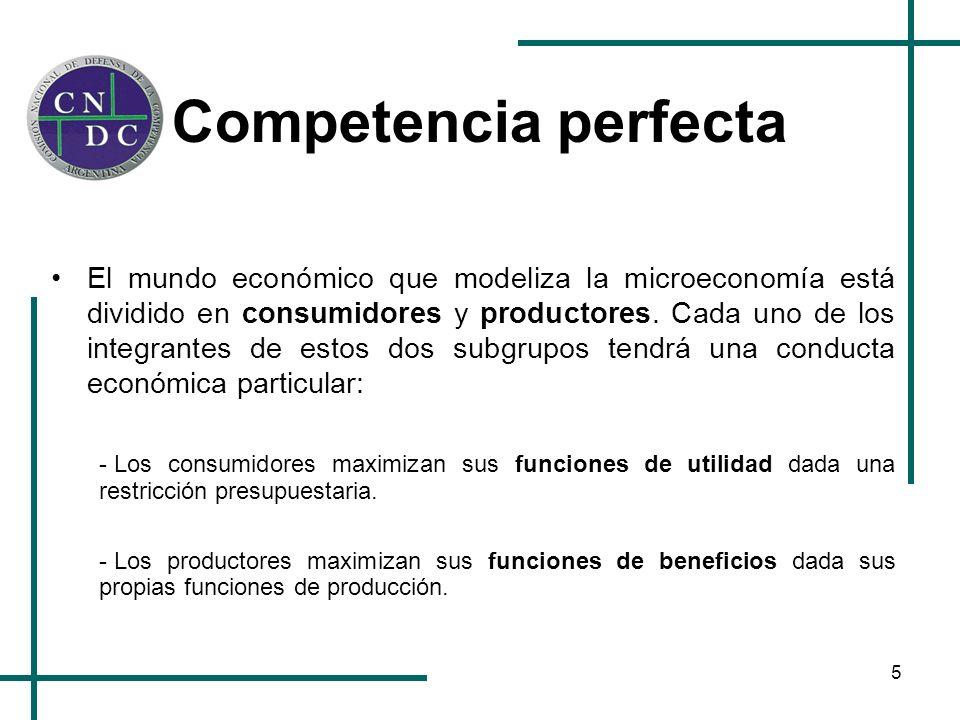 5 Competencia perfecta El mundo económico que modeliza la microeconomía está dividido en consumidores y productores. Cada uno de los integrantes de es