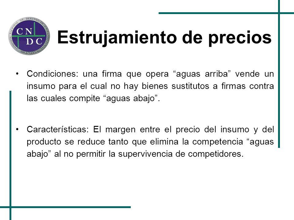 Estrujamiento de precios Condiciones: una firma que opera aguas arriba vende un insumo para el cual no hay bienes sustitutos a firmas contra las cuale
