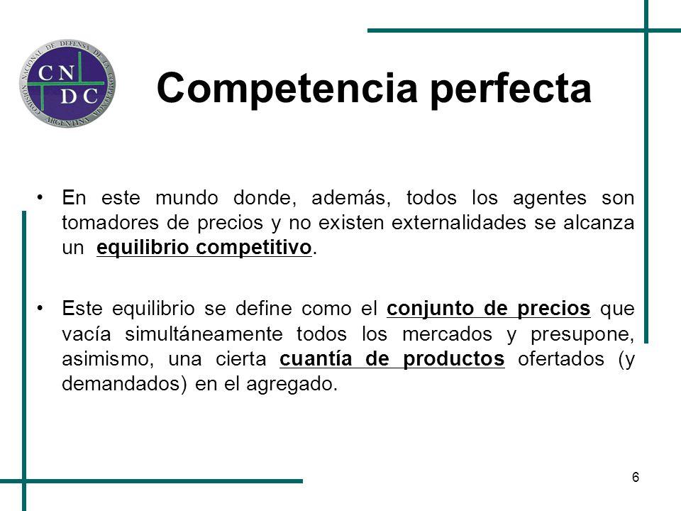 6 Competencia perfecta En este mundo donde, además, todos los agentes son tomadores de precios y no existen externalidades se alcanza un equilibrio co