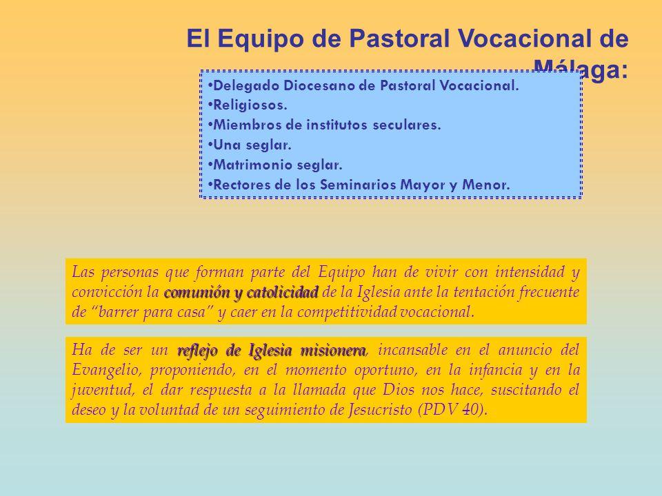 El Equipo de Pastoral Vocacional está inmerso en la realidad de una diócesis: Se COORDINA con: - CONFER e institutos seculares - Vicaría para la Promoción de la Fe - Seminarios Mayor y Menor COLABORA con: - Presbiterio diocesano.