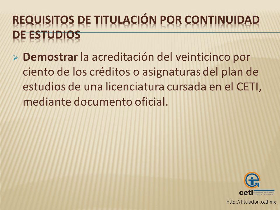 http://titulacion.ceti.mx Demostrar la acreditación del veinticinco por ciento de los créditos o asignaturas del plan de estudios de una licenciatura