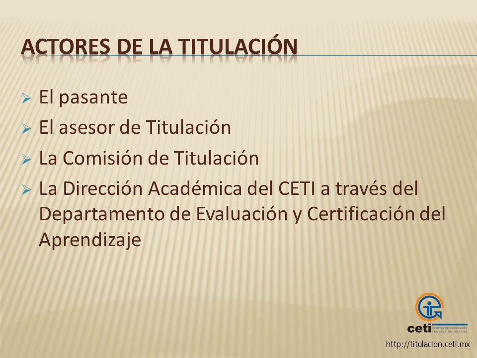 http://titulacion.ceti.mx El pasante El asesor de Titulación La Comisión de Titulación La Dirección Académica del CETI a través del Departamento de Ev