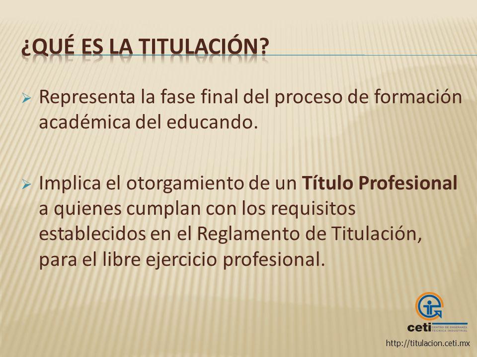 http://titulacion.ceti.mx Representa la fase final del proceso de formación académica del educando. Implica el otorgamiento de un Título Profesional a