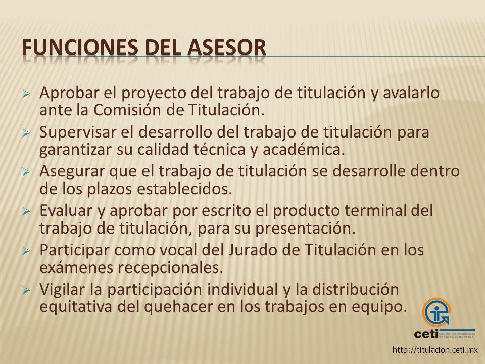 http://titulacion.ceti.mx Aprobar el proyecto del trabajo de titulación y avalarlo ante la Comisión de Titulación. Supervisar el desarrollo del trabaj